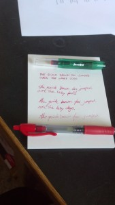 writing sample with pen and with same colored gel pen. Notice the gel pen skipped more.