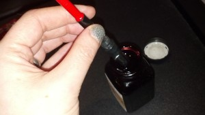 Step Three: twist the converter to suck ink up into the pen. I usually have to squish it back out and re-do it to get it totally filled. Tap the pen against the side of the bottle to get rid of extra ink. Wipe off pen from where you over-dipped. Usually manage to stain your fingers somehow.