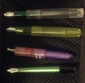 Largest pen body top to smallest at the bottom