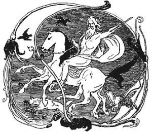 Odin,_Sleipnir,_Geri,_Freki,_Huginn_and_Muninn_by_Frølich